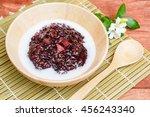 thai dessert  black sticky rice ... | Shutterstock . vector #456243340
