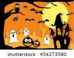 halloween night with creepy... | Shutterstock .eps vector #456273580