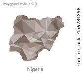 nigeria in geometric polygonal... | Shutterstock .eps vector #456284398