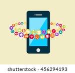 smartphone with multimedia... | Shutterstock .eps vector #456294193