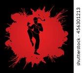 drunken kung fu pose designed... | Shutterstock .eps vector #456301213