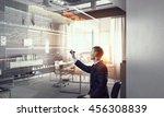 businessman draw progress... | Shutterstock . vector #456308839