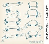hand drawn retro ribbons | Shutterstock . vector #456315394