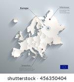 europe political map flag 3d... | Shutterstock .eps vector #456350404