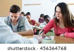 diligent girls and boys taking... | Shutterstock . vector #456364768