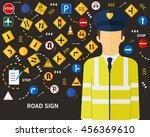 road sign background. flat... | Shutterstock .eps vector #456369610