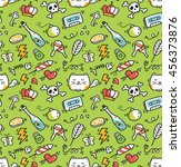 cute doodle seamless background | Shutterstock .eps vector #456373876