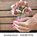 flowers hands manicure | Shutterstock . vector #456387556