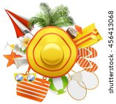 vector beach accessories with... | Shutterstock .eps vector #456413068