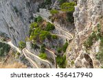 old empty winding mountain road ... | Shutterstock . vector #456417940