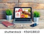 food takeaway website in a... | Shutterstock . vector #456418810