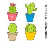 cartoon cactus in a pot. vector ... | Shutterstock .eps vector #456418846