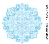 round mandala pattern with hand ... | Shutterstock .eps vector #456424426