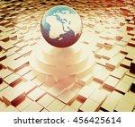 earth on podium against... | Shutterstock . vector #456425614