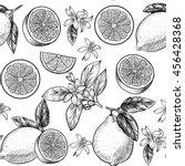 lemons  and flowers. vector... | Shutterstock .eps vector #456428368