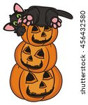 pyramid of pumpkins and a black ... | Shutterstock . vector #456432580