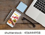 food delivery take away app in... | Shutterstock . vector #456444958