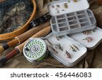 fly fishing tackle  old reel ... | Shutterstock . vector #456446083