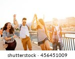 young energetic group of people ... | Shutterstock . vector #456451009
