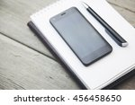 notebook and smart phone on the ... | Shutterstock . vector #456458650