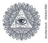 vintage all seeing eye in... | Shutterstock .eps vector #456461980