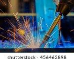 robot welding close up.     | Shutterstock . vector #456462898