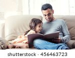 little girl and father are... | Shutterstock . vector #456463723