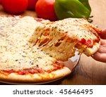 slice of pizza margarita lifted ... | Shutterstock . vector #45646495