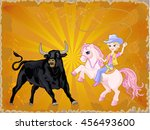blond cowgirl with lasso  | Shutterstock .eps vector #456493600