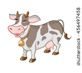 happy cartoon cow on white... | Shutterstock . vector #456497458