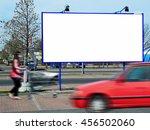 billboard and a red going car... | Shutterstock . vector #456502060
