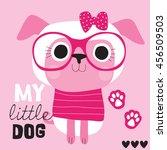 cute pink dog vector... | Shutterstock .eps vector #456509503