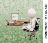 zen office worker  3d rendering | Shutterstock . vector #456509530