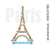 eiffel tower icon vector... | Shutterstock .eps vector #456514780