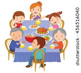 family dinner. happy extended... | Shutterstock .eps vector #456516040