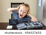 boy shouting madly with his... | Shutterstock . vector #456527653