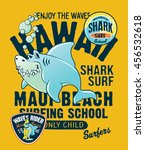 hawaii shark surfing school ... | Shutterstock .eps vector #456532618