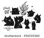 Stock vector hand drawn vector doodle sketched silhouette of black cat cards set collection isolated on white 456535360