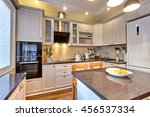 kitchen with appliances and a... | Shutterstock . vector #456537334