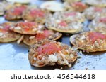 mini tostadas with toppings of...