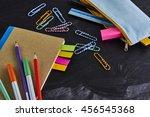 recycled paper notebook  school ... | Shutterstock . vector #456545368