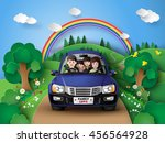 funny family driving in car on... | Shutterstock .eps vector #456564928