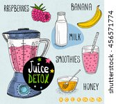 sketch juice detox set. with... | Shutterstock .eps vector #456571774