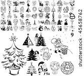 christmas set of black sketch.
