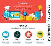 electronic learning flat web... | Shutterstock .eps vector #456624823