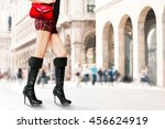 woman with black long high... | Shutterstock . vector #456624919