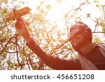 adult bearded man playing with... | Shutterstock . vector #456651208