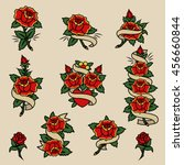 traditional tattoo flowers set... | Shutterstock .eps vector #456660844