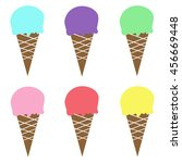 colorful ice cream cone pink... | Shutterstock . vector #456669448