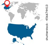 detailed map of usa and world... | Shutterstock .eps vector #456674413